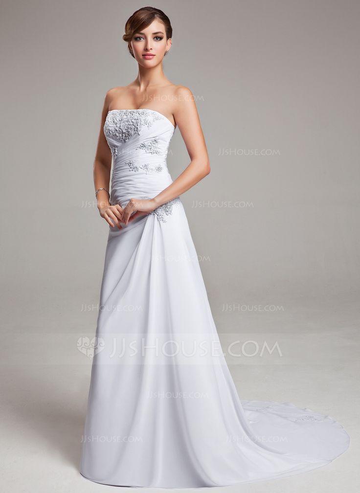 A-Line/Princess Strapless Sweep Train Chiffon Wedding Dress With Ruffle Appliques Lace (002004166) - JJsHouse