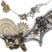 Steampunk Daedalus Penna Scientia Gothic Propeller Necklace