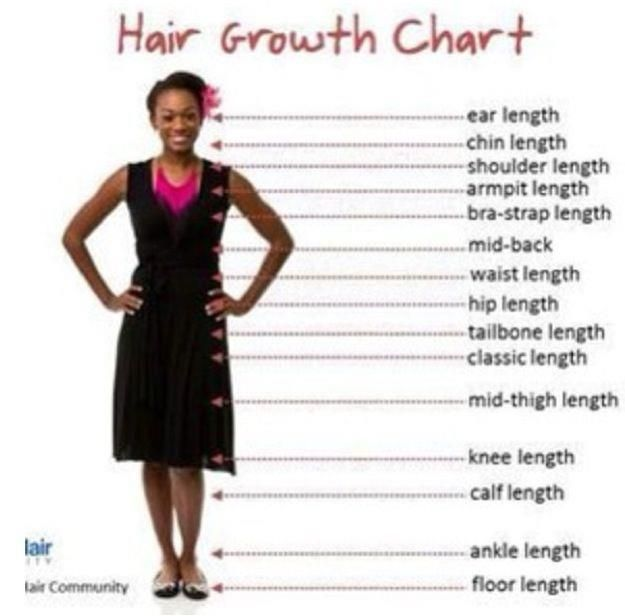 Hair Growth chart. What is your desired length? #hair #length #chart