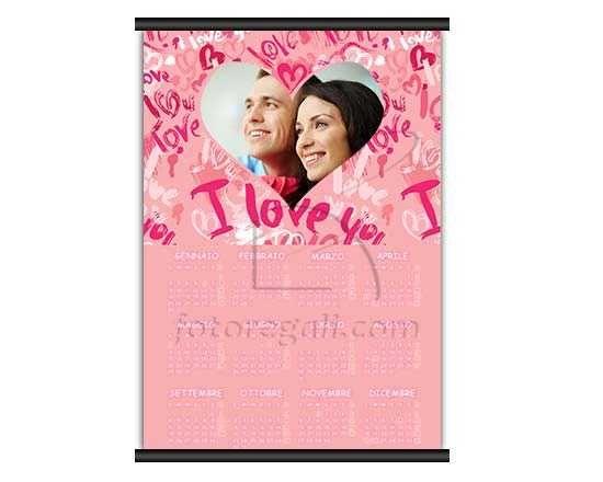 Calendario pagina singola con grafica rosa