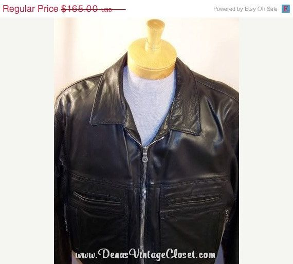 60% Off Black Friday Sale Vintage Black Leather Motorcycle Police Jacket #etsy #collectibes