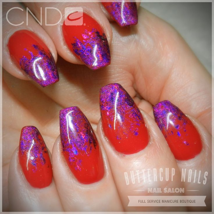 CND Shellac in Wildfire with a holo purple foil fade - over sculpted acrylic nails.  #CND #CNDWorld #CNDShellac #Shellac #nails #nail #nailstagram #naildesign #naildesigns #nailaddict #nailpro #nailart #nailartist  #nailartdesign #nailartofinstagram #nailartdesigns
