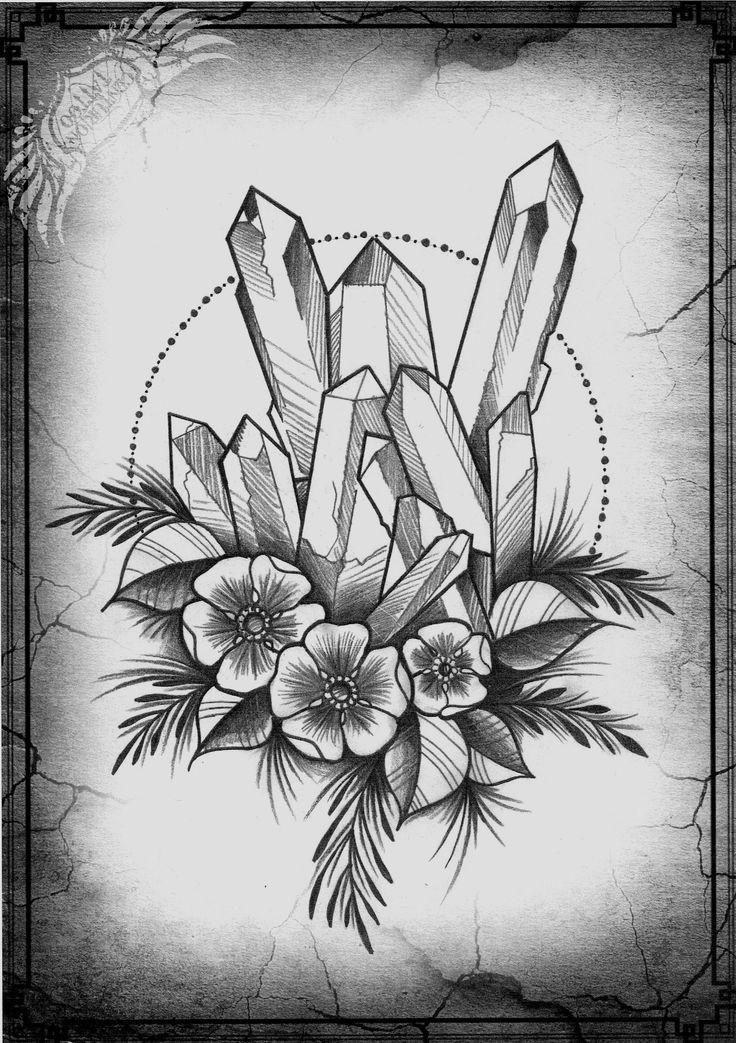 crystal tattoo sketch / idea