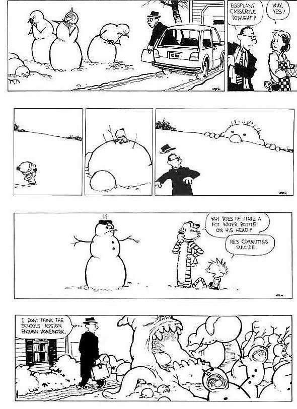 calvin and hobbes snowmen   Thread: Calvin and Hobbes snowmen... how creative are YOUR snowmen?