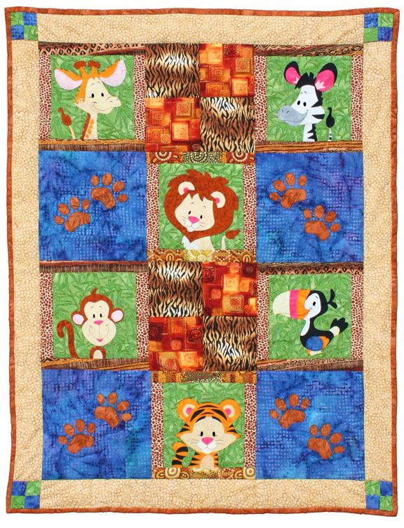 "Safari Babies quilt pattern measures 39"" x 50"". Can be expanded to 63"" x 78"" by adding additional borders. Instructions for both sizes are included. Now that's what I call a friendly  safari!"