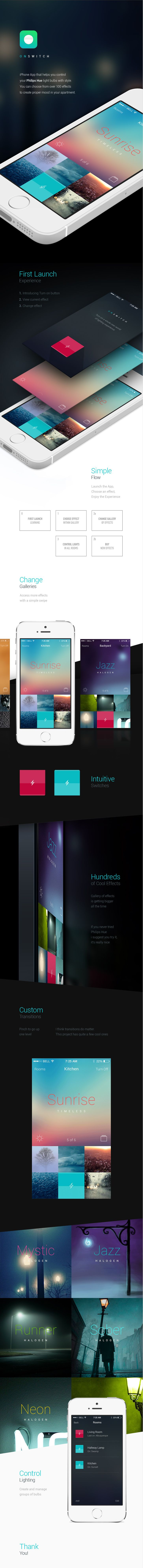 Sunrise - Application that lets you control Philips Hue light bulbs. #ui #interface #mobile #ux