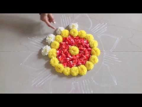 latest rangoli designs for festivals//muggulu rangoli designs//flower decorations - YouTube