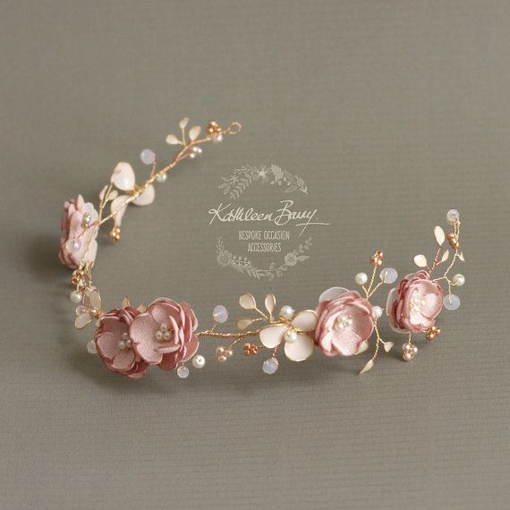 Bridal Wreath in blush pink gold rose dusty pink, floral pearl crystal wedding hair accessory STYLE: Valentine