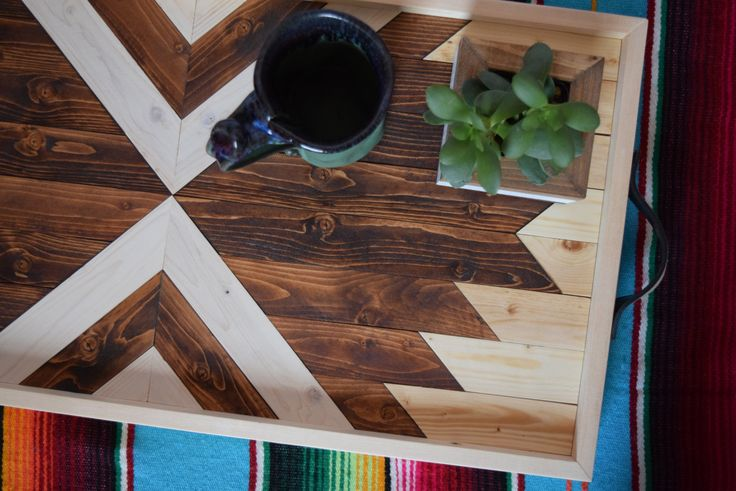 Wood Breakfast Tray with Repurposed Leather Handles - Coffee Table Tray - Southwestern Serving Tray - Decorative Tray for Modern Home Decor by RoamingRootsWoodwork on Etsy