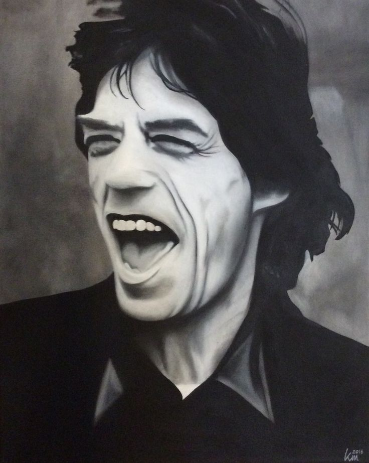 Oil painting of Mick Jagger, 40 x 50 cm, 2016 Mirjam Kämmerer