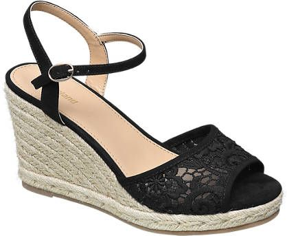 Graceland Ladies' Espadrille Wedge Sandals Black | Deichmann