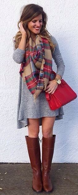 Plaid blanket scarf, gray dress, & riding boots.