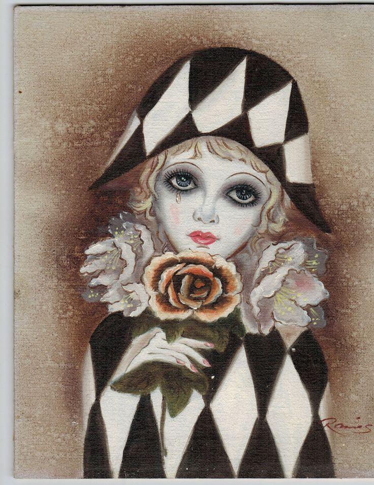 Vintage maio print harlequin mardi
