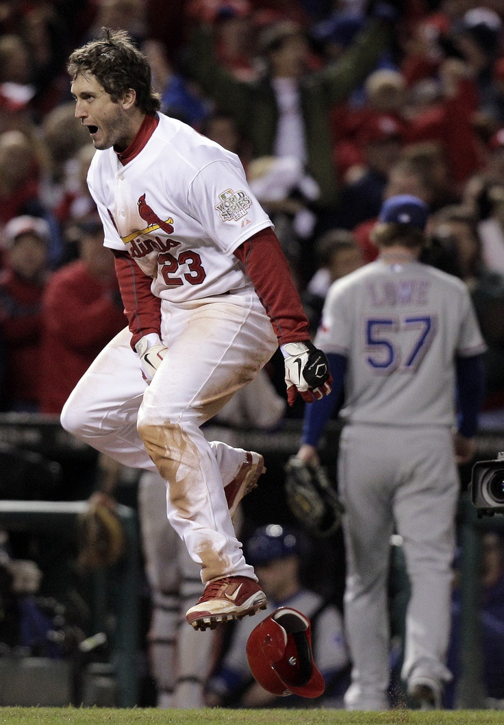 David Freese reacts after hitting a walk-off homer in Game 6 of the 2011World Series.