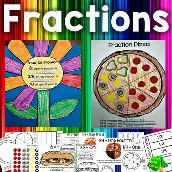 These fraction crafts and visuals (grades K-3)will have your students loving fractions in no time at all and will provide you with a colorful fraction bulletin board display! Included are: Fractions Pizza Craft, fraction flower activity, book mark, simple