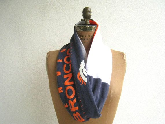 Denver Broncos T Shirt Infinity Scarf / Orange Gray Navy by ohzie