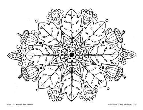 Autumn coloring page for adults and grown ups. Mandala coloring page with lots of beautiful details can help reduce stress and cope with pain while you color. Drawn by Jennifer Stay
