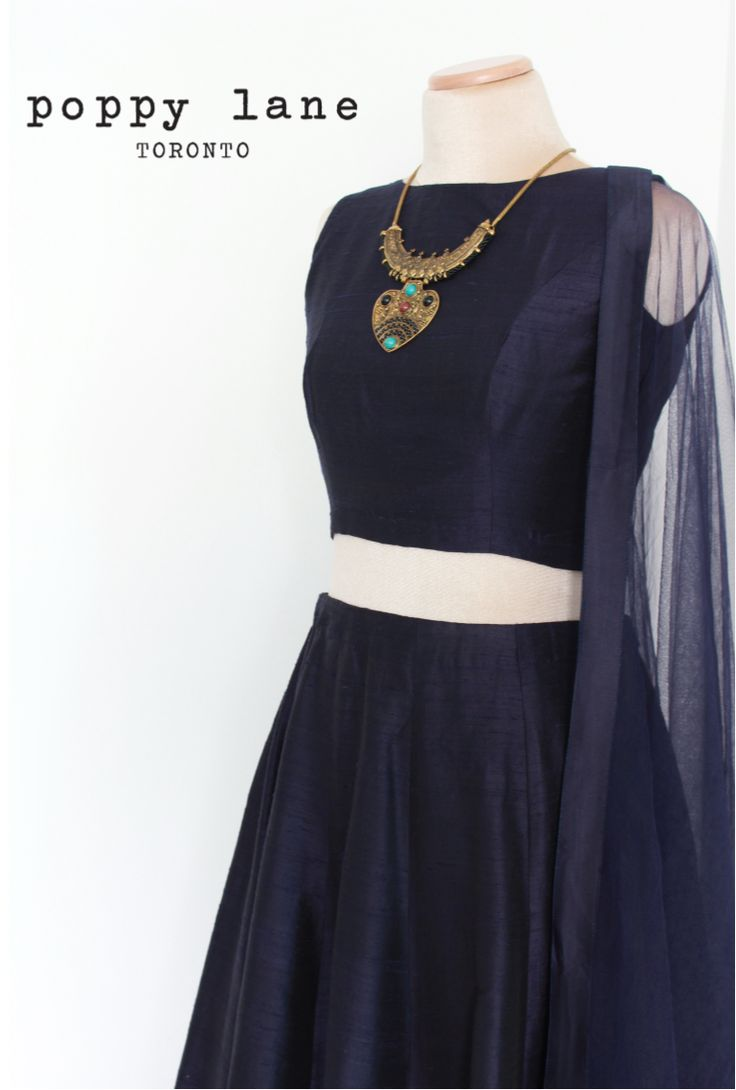 Mix and Match! Raw Silk Navy Crop top Blouses  + Raw Silk Navy Lengha skirts @ Poppy Lane Toronto