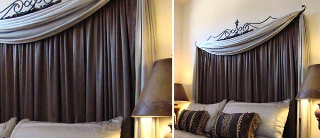 Curtain rod headboard...not necessarily this style, but good idea for inexpensive headboard
