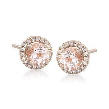 1.60ct t.w. Morganite, .15ct t.w. Diamond Earrings in Gold Over Silver Ross-Simons. $210.00