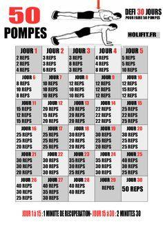 Ce défi de 30 jours vous propose une progression pour réaliser 50 pompes en une seule série à la fin du challenge !