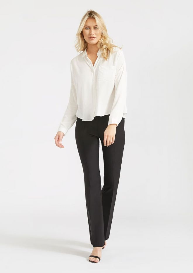 5c622c575f29 Dover High Waisted Bootcut Pants. Dressy Black Work pants for tall women.