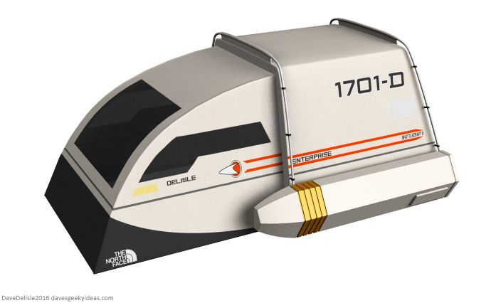 If I EVER am forced to go camping (probably at gun point) then I hope it's in one these. ... and air condition, wifi, board games and running toilet.   'Star Trek' Shuttlecraft Tent: Explore Strange New Woods