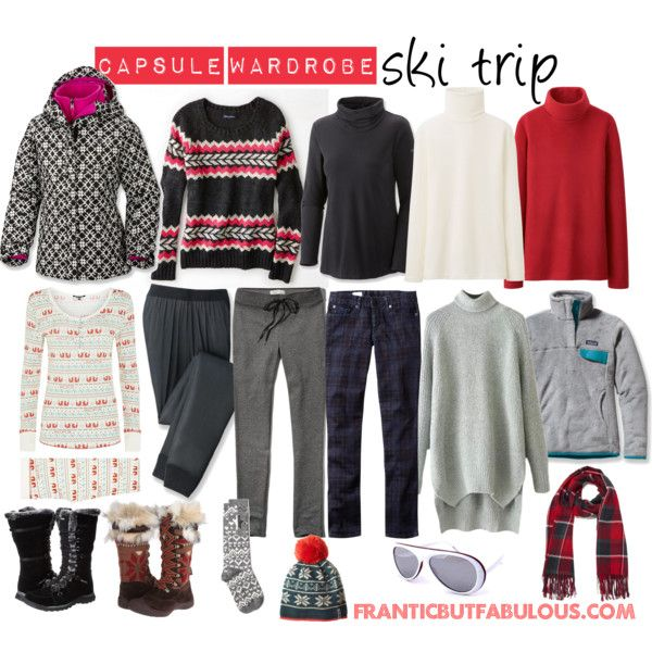 Whether for a few days or a week or more, this capsule wardrobe makes the perfect packing list for a ski trip.  http://www.franticbutfabulous.com/pack-ski-trip/
