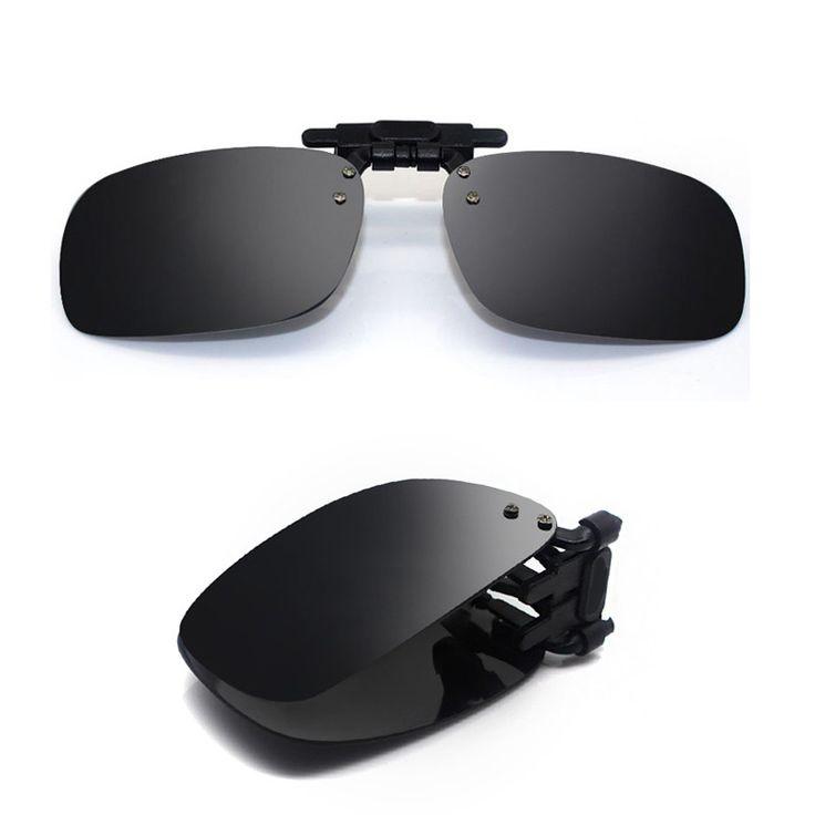 Fold Polarized Clip on Sunglasses clip on glasses square Polaroid Lens Men Women mirror clip Sun Glasses Night Vision Driving