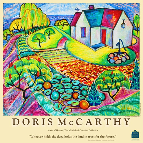 The Poster 'Fool's Paradise' by Doris McCarthy, Canadian artist. This poster bears the logo of the Ontario Heritage Foundation.  In 1999 McCarthy donated Fool's Paradise to Ontario Heritage to be used as an artist retreat after her death.