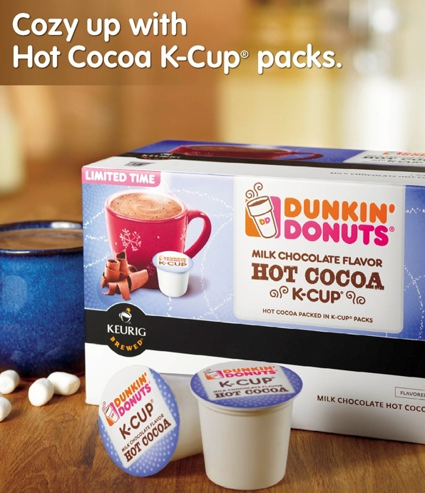 Hot Cocoa KCup packs are now at participating U.S. Dunkin