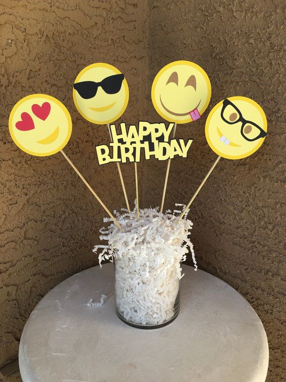 Custom Emoji inspired theme centerpieces by ErinsHandcraftedCrea