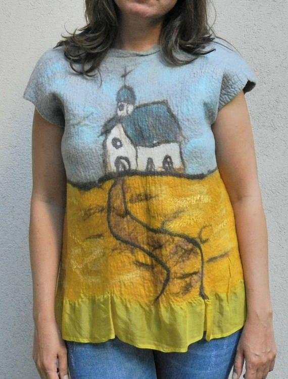 Nuno felt blouse wool painting Church on hilltop art to wear