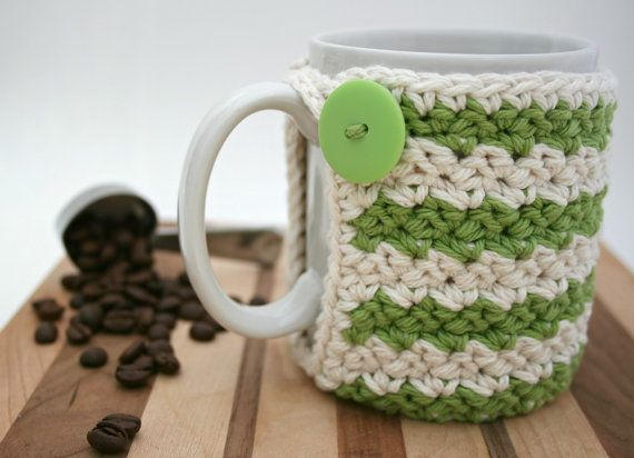 Crochet Cup Cozy  Coffee Cup Cozy  Green & Cream by KnotaGeek