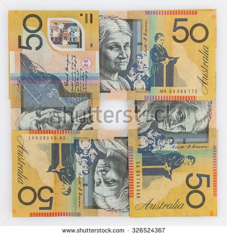 Four 50 Australian dollar bills in a square arrangement isolated on white