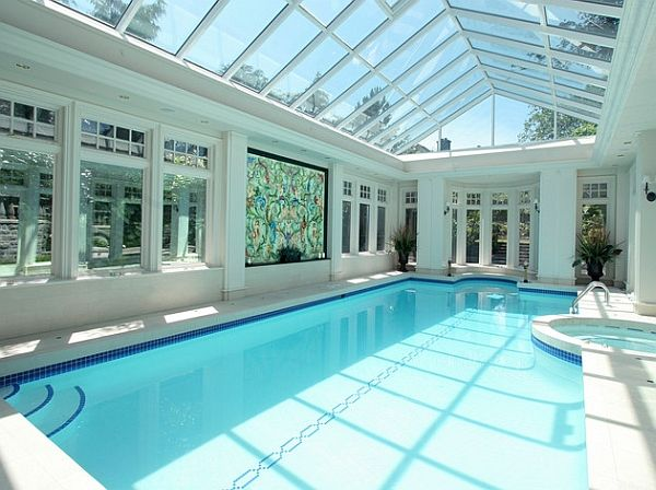 White and blue seem like a perfect combination for the indoor pool