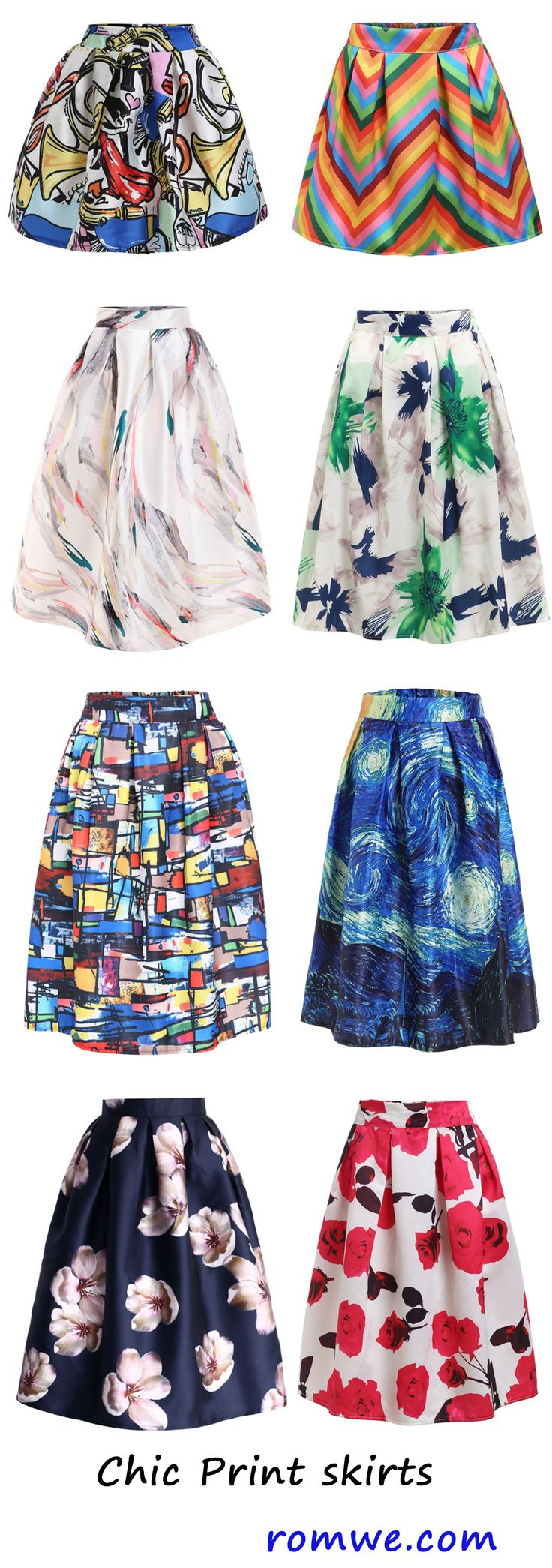 Vintage print skirts - you must have one to make you more chic and pretty. - romwe.com