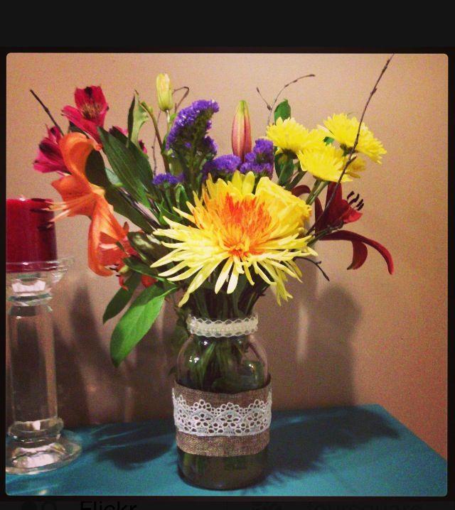 Lace & pearls centerpiece # mason jars