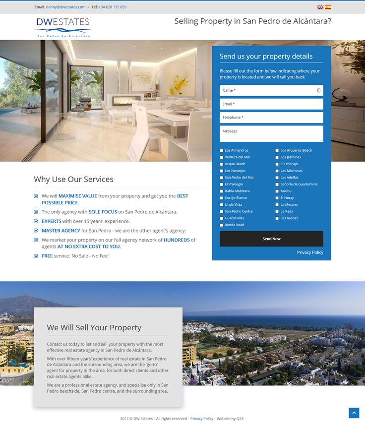 Multilingual landing page for DW Estates in San Pedro de Alcántara #landingpage #realestate #sanpedrodealcantara