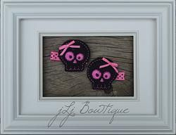 Hot Pink & Black Skull Hair Clips - $5.00 for pair on jLj Bowtique