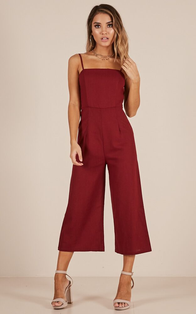 Showpo Slowly Drifting Jumpsuit In Wine 14 Xl Rompers Jumpsuits Jumpsuit For Wedding Guest Jumpsuits For Women Chic Outfits