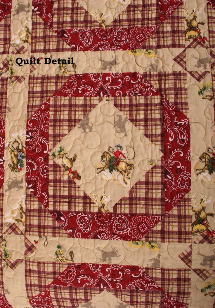 use old fashioned western material square!!! - Western Bandana Horse Cowboy Cotton Quilt detail Western Bandana Horse ...
