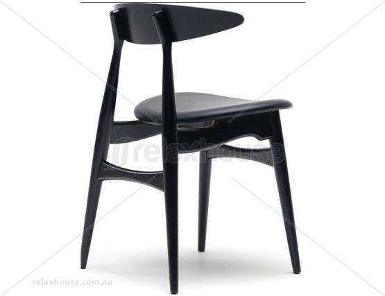 Joffrey Natural Oak Dining Chair Black Frame W Black Seat Pad