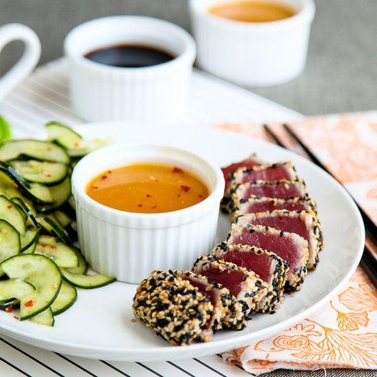 Sesame Seared Tuna with orange ginger soy sauceSeared Tuna, Sesame Seared, Sesame Crusts, Soy Sauces, Orange Gingers, Crusts Tuna, Gingers Soy, Fish Recipe, Seared Sesame
