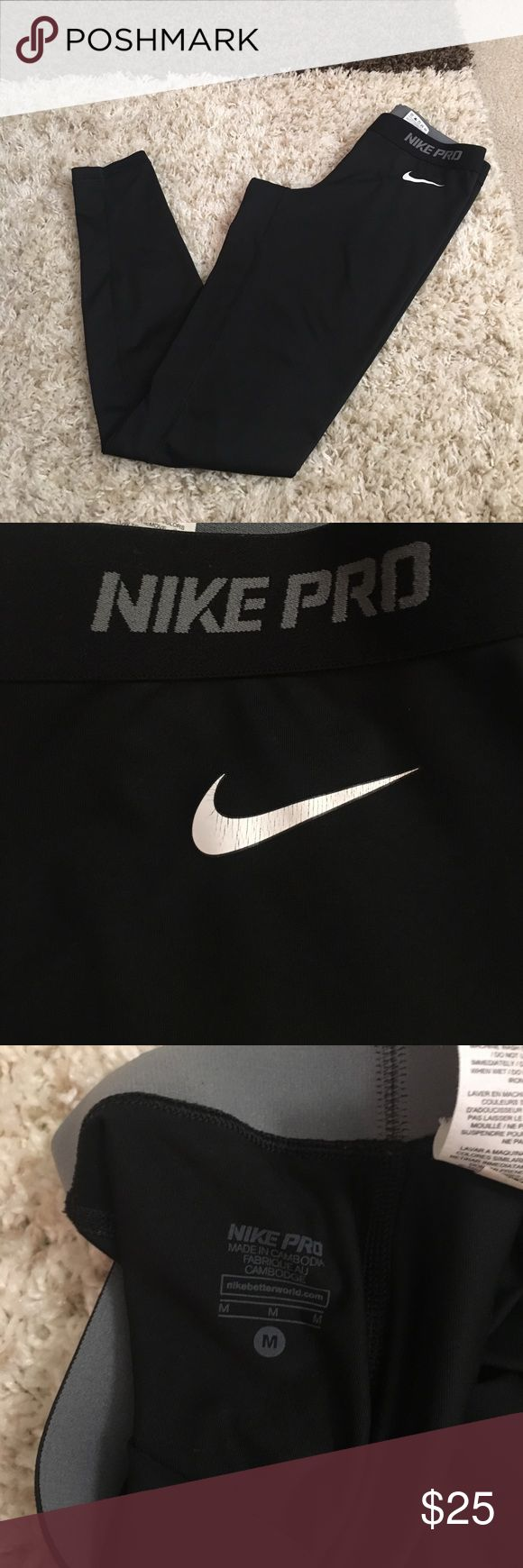 Woman's Nike Pro training pants Used. Good condition. Woman's Nike Pro dri-fit training pants. No trades. No 🅿🅿. Please comment for questions. Use the offer button to make an offer. Thanks! Nike Pants Leggings