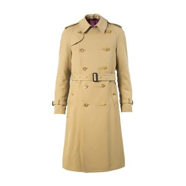 GUCCI Beige Wool Gabardine Trench Coat ($2,174) ❤ liked on Polyvore featuring men's fashion, men's clothing, men's outerwear, men's coats, beige, mens wool coat, mens wool trench coat, mens trench coat, mens beige trench coat and mens fur collar coat