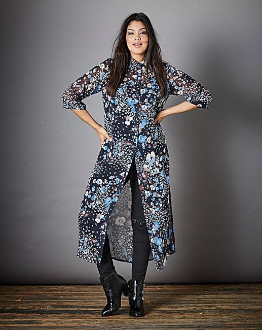 Simply Be Printed Longline Shirt Dress | Simply Be