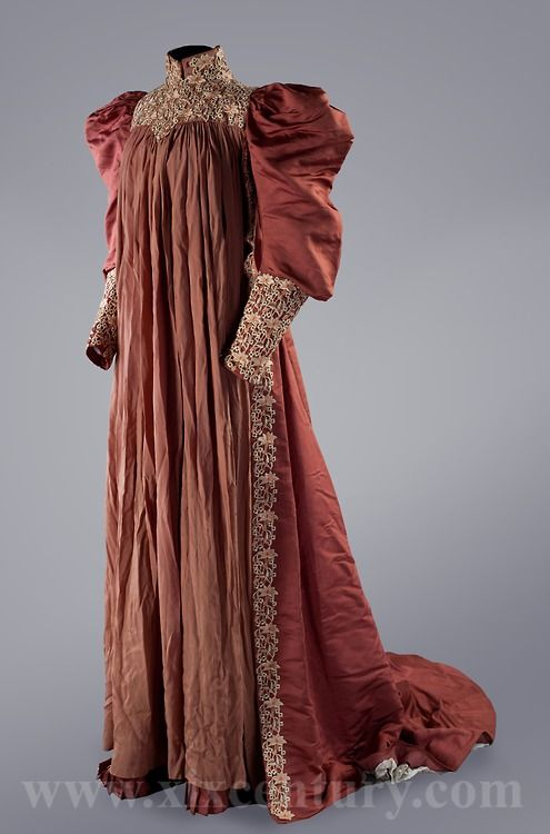 Tea gown, 1890's (source: fripperiesandfobs)