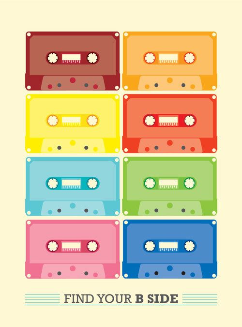 CASSETTE VINTAGE retro Print Poster typography by PeanutoakPrint, $23.00: