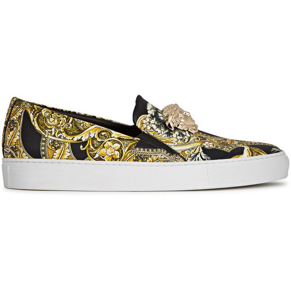 Versace Medusa Barocco Leather Trainers - Size 5 ($795) ❤ liked on Polyvore featuring shoes, sneakers, black shoes, versace shoes, versace sneakers, leather slip on shoes and slip-on shoes